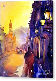 Watercolor Painting Of Street And Church Morelia Mexico Acrylic Print by Ryan Fox