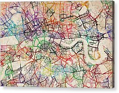 Watercolour Map Of London Acrylic Print by Michael Tompsett