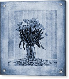 Watercolour Tulips In Blue Acrylic Print by John Edwards