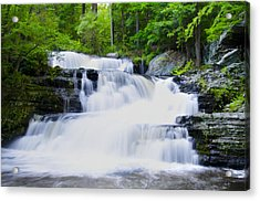 Waterfall In The Pocono Mountains Acrylic Print by Bill Cannon