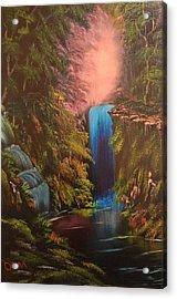 Waterfall In The Woods Acrylic Print by Koko Elorm