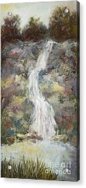 Waterfall With Gold Leaf By Vic Mastis Acrylic Print by Vic  Mastis
