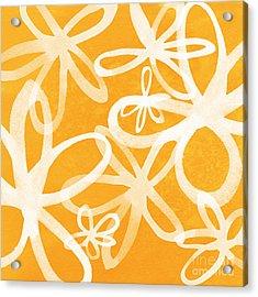 Waterflowers- Orange And White Acrylic Print by Linda Woods