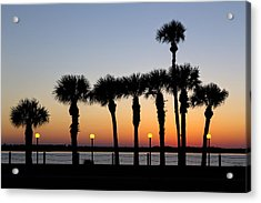 Waterfront After Dark Acrylic Print by Debra and Dave Vanderlaan