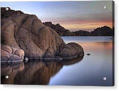 Watson Lake Arizona Colors Acrylic Print by Dave Dilli