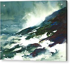 Wave And Rocks - Storm On The North Shore Acrylic Print by William Beaupre