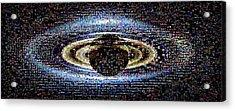 'wave At Saturn' Mosaic Acrylic Print by Nasa/jpl-caltech/ssi