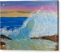 Wave At Sunrise Acrylic Print by Pamela  Meredith