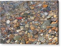 Wave Over Beautiful Rocks Acrylic Print by Carol Groenen