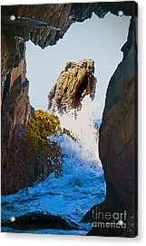 Wave Through The Cave At Pfiffer Beach In Big Sur Acrylic Print by Artist and Photographer Laura Wrede