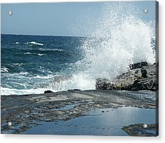 Waves Crashing On The Forbidden Isle Acrylic Print by Kai Hyde