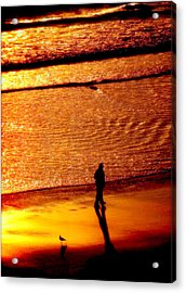 Waves Of Gold Acrylic Print by Karen Wiles