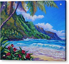 Waves On Na Pali Shore Acrylic Print by John Clark