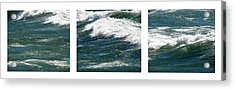 Waves Triptych Ll Acrylic Print by Michelle Calkins