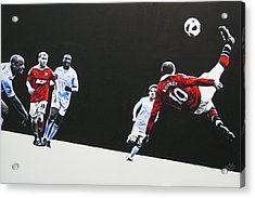 Wayne Rooney - Manchester United Fc Acrylic Print by Geo Thomson