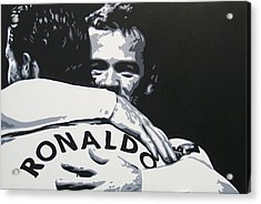 Wayne Rooney And Ronaldo - Manchester United Fc Acrylic Print by Geo Thomson