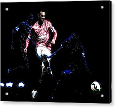 Wayne Rooney Working Magic Acrylic Print by Brian Reaves