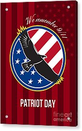 We Remember 911 Patriot Day Retro Poster Acrylic Print by Aloysius Patrimonio