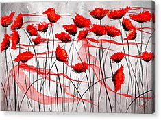 We Remember- Red Poppies Impressionist Painting Acrylic Print by Lourry Legarde