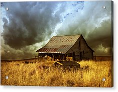 Weathered Barn  Stormy Sky Acrylic Print by Ann Powell