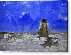 Weathered Blue Wall Of Old World Europe Acrylic Print by David Letts