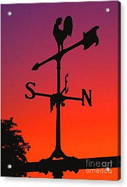 Weathervane At Sunset Acrylic Print by Nick Zelinsky