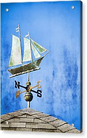 Weathervane Clipper Ship Acrylic Print by Carol Leigh