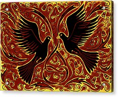Wedding Doves, 2013 Woodcut Acrylic Print by Nat Morley