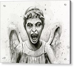 Weeping Angel Watercolor - Don't Blink Acrylic Print by Olga Shvartsur