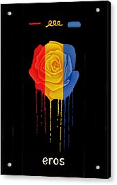 Weeping Rainbow Rose Acrylic Print by Darrell Ross