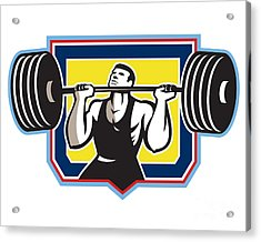Weightlifter Lifting Heavy Barbell Retro Acrylic Print by Aloysius Patrimonio