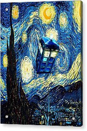 Weird Flying Phone Booth Starry The Night Acrylic Print by Three Second