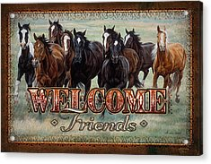 Welcome Friends Horses Acrylic Print by JQ Licensing