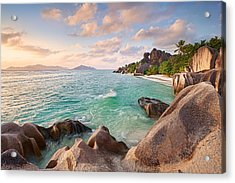 Welcome To La Digue Acrylic Print by Michael Breitung