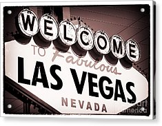 Welcome To Las Vegas Red Tone Acrylic Print by John Rizzuto