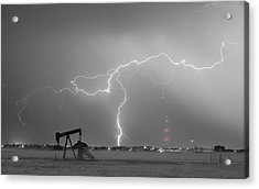 Weld County Dacona Oil Fields Lightning Thunderstorm Bwsc Acrylic Print by James BO  Insogna