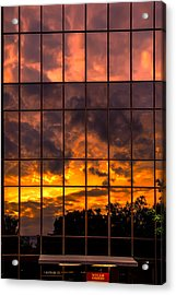 Wells Fargo Sunset Reflection Acrylic Print by John Haldane