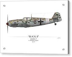 Werner Schroer Messerschmitt Bf-109 - White Background Acrylic Print by Craig Tinder