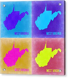 West Virginia Pop Art Map 2 Acrylic Print by Naxart Studio