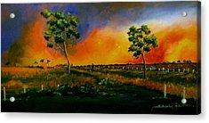 Western Sunset Acrylic Print by Sandra Sengstock-Miller
