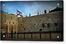 Western Wall And Israeli Flag Acrylic Print by Stephen Stookey