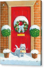 Westie Post Acrylic Print by David Price