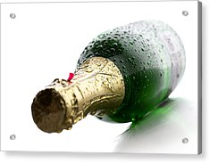 Wet Champagne Bottle Acrylic Print by Johan Swanepoel