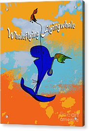 Whale Flying Flying Whale Acrylic Print by Mukta Gupta