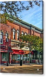 Wheaton Front Street Stores Acrylic Print by Christopher Arndt