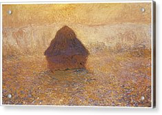 Wheatstack Sun In The Mist Acrylic Print by Claude Monet