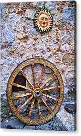 Wheel And Sun In Taromina Sicily Acrylic Print by David Smith
