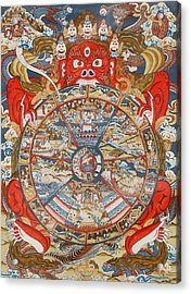 Wheel Of Life Or Wheel Of Samsara Acrylic Print by Unknown