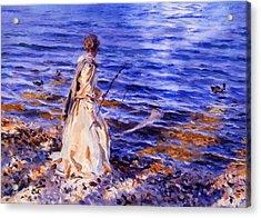 When A Woman Goes Fishing Acrylic Print by Georgiana Romanovna
