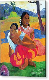 When Are You Getting Married Acrylic Print by Paul Gauguin